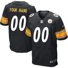 Men's Customized Elite Black Team Color Nike Pittsburgh Steelers NFL Jersey Authentic