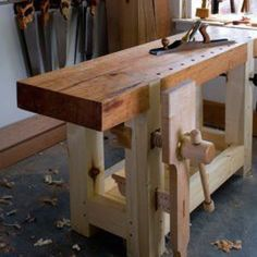 Heres the nearly completed shot of the handmade Roubo workbench that will be on the cover of the August 2010 issue of Popular Woodworking Magazine. The only thing missing is me showing off a bit more sun-deprived flesh and a non-Botox pout look for tha Workbench Designs, Workbench Plans, Woodworking Workbench, Fine Woodworking, Woodworking Skills, Woodworking Magazine, Garage Workbench, Workbench Organization, Woodworking Machinery