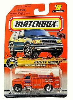MOC 1997 Matchbox Series 2 Orange Big Movers Utility Truck #9