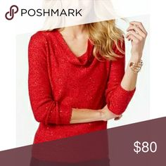 Coming 3/17 INC International Concepts Sweater Sequined, cowl neck 68% polyester, 32% cotton INC International Concepts Sweaters