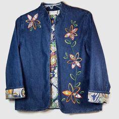 4171083e136 Alfred Dunner Denim Size 12 Embroidered Applique Floral Lightweight Jean  Jacket  AlfredDunner  JeanJacket