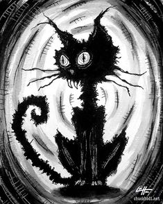 Print 8x10  Black Cat 6  Halloween Cats Stray Spooky by chuckhodi, $8.00