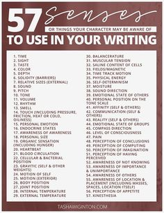 Senses to use in your writing -- something I want to work on!