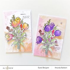 Altenew Cards, Flower Cards, Pattern Paper, Note Cards, Outline, Tulips, Giveaway, Card Making, Paper Crafts
