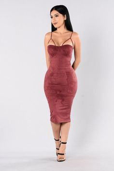 - Available in Olive, Mocha, Burgundy, and Navy - Sweetheart Neckline - Padded Cups - Faux Suede - Midi Length - Made in USA - 90% Polyester, 10% Spandex