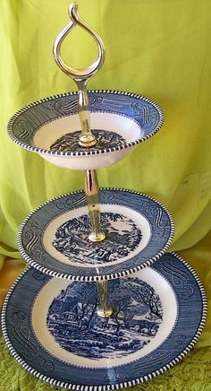 VINTAGE Currier and Ives 3 Tiered Serving by WHISTLESTOPTRAINSHOP, $35.00