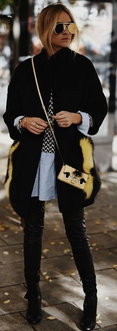 Nina Suess Touch Of Yellow On Dark Neutrals Fall Street Style Inspo