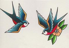 How to Draw a Group of Swallows in a Retro Tattoo Style Design Envato Tuts Design & Illustration Tatoo Bird, Swallow Bird Tattoos, Bird Tattoo Meaning, Tattoos With Meaning, Tattoo Old School, Old School Tattoo Designs, Traditional Swallow Tattoo, Traditional Tattoo Design, Traditional Tattoo Tutorial