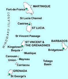 Sample Windward Islands Yacht Charter: St. Lucia to Union Island including St. Vincent and the Grenadines.  www.njcharters.com