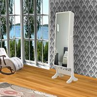 Just Home Trendy One Aynalı Takı ve Aksesuar Dolabı  - Beyaz / Pembe