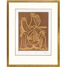 Pablo Picasso, Femme Assise En Pyjama De Plage II Linocut, 1962 1