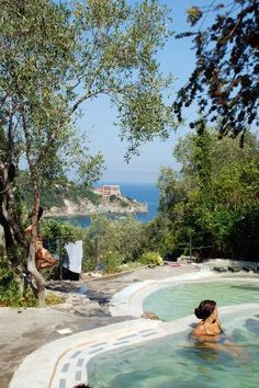 Sinking into Ischia's Warm Thermal Waters    The healing powers of Ischia's thermal springs have been known since Roman times. On a cool spring or autumn day they make a perfect therapy for museum-weary bones.    Photo Caption: Thermal pools in Ischia.    Photo by Yellow.Cat/Flickr.com