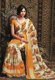 YellowFashion.in — Cream and yellow colour chiffon material casual sarees : radhe collection - yf-11617 | Casual sarees