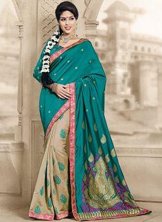 557e20c99396b Beige  amp  Rama Green Color Art Silk Festival  amp  Function Sarees    Surveen Collection