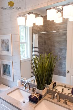 The natural stone used in the shower along with the indoor plant creates such a comforting environment! New Home Construction, Interior Decorating, Interior Design, Home Trends, New Home Designs, Nature Decor, Indoor Plants, Interior Inspiration, Design Trends