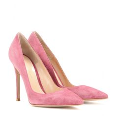 Gianvito Rossi - Suede pumps - Elevating the classic point-toe pump with this suede pair, Gianvito Rossi leads by example. The pretty blossom-pink hue was made for the new season. Show them off with a printed dress or tuxedo trousers. seen @ www.mytheresa.com