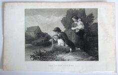Engraving Print The Little Anglers John Sartain 1800's Literature & Art,  #Realism