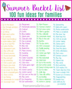 Summer Bucket List & 100 Fun Ideas for Families! & The Momma Diaries Summer Bucket List & 100 Fun Ideas for Families! & The Momma Diaries The post Summer Bucket List & 100 Fun Ideas for Families! & The Momma Diaries appeared first on Pink Unicorn. Bucket List 100, Bucket List Family, Fun Bucket List Ideas, Bucket List Examples, Summer Fun List, Summer Kids, Summer Bucket List For Teens, Kids Summer Schedule, Summer Checklist