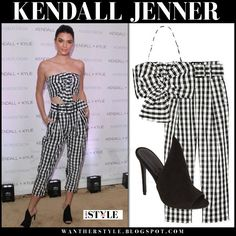 Kendall Jenner in gingham print crop top and matching crop pants and black mules