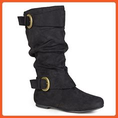 Journee Collection Womens Regular Sized and Wide-Calf Slouch Buckle  Microsuede Boot Black 9 -