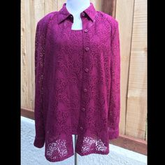 Burgundy Two Piece Lace Tops Lined sleeveless top with long sleeve lace jacket to match. Jacket not lined. 100% nylon. Lining of the top is 100% polyester. Comes with extra button. NWOT color best matches fourth photo. Price cut was $35. Draper's Studio Tops