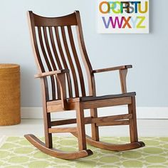 Nursery Rocker Chair: Classic Wooden Rocking Chair in Rockers & Gliders