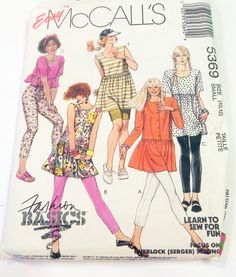 "1990s Crop top Babydoll dress leggings shorts sewing pattern Size 10 12 McCalls 5369 Bust 32.5 34"" UNCUT FF by retroactivefuture on Etsy"