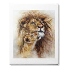 LION AND HER BABY - COLOR PAINTING ART IDEAS ON CANVAS FOR HOME DECOR LIVING ROOM INTERIORS WALLS.