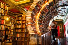 """The Last Bookstore. The Labyrinth features a massive, chaotic, maze-like space housing more than 100,000 used books, all at $1 each. It features doors that lead nowhere, time-travel portholes looking into an artist's rendition of outer space, and """"secret passage ways"""" leading into hidden book rooms."""