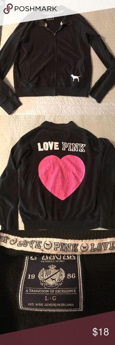 Victoria Secret Pink Black full Zip Sweat Jacket L Black zip front sweat jacket pink heart has cracking see photo Victoria's Secret Jackets & Coats Utility Jackets