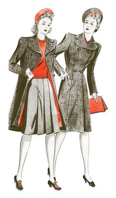 1944 Fashion illustration from Woman and Home magazine.