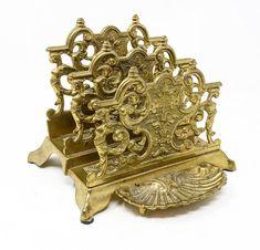 Beautiful vintage solid brass ornate desk top letter holder. Letter Holder, Solid Brass, Desk, Lettering, Sculpture, Statue, Top, Vintage, Beautiful
