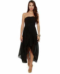 Sexy Strapless Dress - Black Dress - High-Low Dress - $67.00 on Wanelo