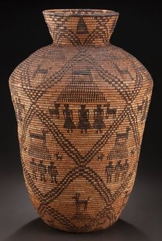 American Indian Art:Baskets, AN APACHE PICTORIAL COILED STORAGE JAR . c. 1900...
