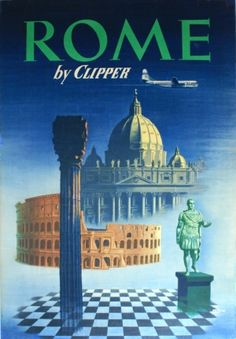 Rome by Clipper, 1950s - original vintage poster listed on AntikBar.co.uk