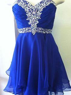 royal blue prom dresses,Royal Blue A-line Sweetheart Short Mini Chiffon Homecoming Dress Short Prom Dresses SP8149