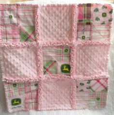 Baby Girl John Deere Minky Rag Quilt Security by flutterflybaby