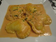 lobster ravioli with a crab cream sauce; it's  even  heart shaped!