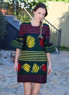 Fanm Mon Banana print summer dress with flounce sleeves
