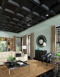 innendesign ideen kassettendecke wohnzimmer beiger teppich