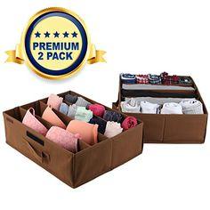 Underbed Storage Drawer Organizer - 2 Pack - Under Bed Storage Container Underbed Box Closet Dresser Organizer Bra Shoe Clothes Underwear Socks - Removable Dividers with Velcro Strips (Light Brown)