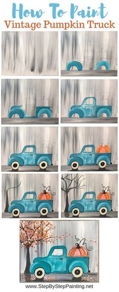 """How To Paint A Vintage Pumpkin Truck"""" Learn how to paint this absolutely adorable teal vintage truck with a pumpkin in the back! Beginners can learn how to do this with acrylic paints on an x stretched canvas This painting is super eas - # Diy Canvas, Canvas Art, Painting Canvas, Canvas Ideas, Acrylic Paintings, Painted Canvas Diy, How To Paint Canvas, Halloween Canvas Paintings, Fall Paintings"""