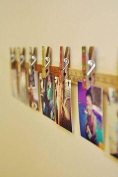 Decorar con fotos sujetas por pinzas (easy & trendy)