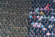 North Korean Army soldiers and civilians on the stand of the Kim Il Sung Stadium. Credit: © Ilya Pitalev, Russia