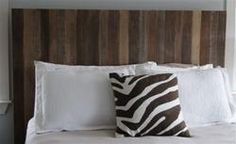 Headboard made from reclaimed wood Barn Board Headboard, Fence Headboard, Custom Headboard, Headboard Ideas, Headboards, Reclaimed Wood Headboard, Reclaimed Lumber, Master Bedroom, Bedroom Decor
