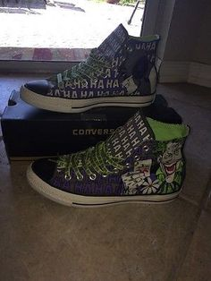 8f889dd0a63b Converse All Star HI TOPS~ DC HERO Batman Joker SIZE WOMENS 10 MENS 8