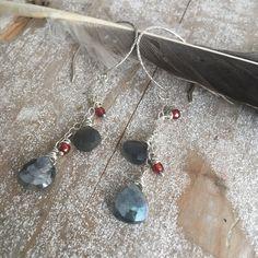 Labradorite and Garnet Earrings