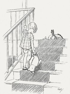 christopher robin drags pooh bear up stairs