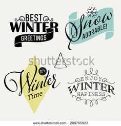 Vector set of winter themed decorative elements with phrases | Collection of vector scrapbook decoration elements | Winter word art about snow, fun and having a good time - Shutterstock Premier