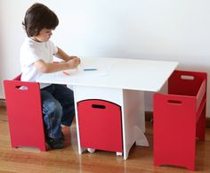 Aston red kids table and chairs with toy storage  adult sized with bar stools please